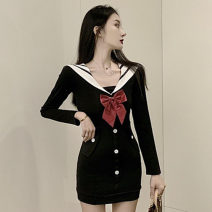 Dress Autumn 2020 White, black S,M,L Short skirt singleton  Long sleeves commute V-neck High waist Solid color Socket One pace skirt routine Others 18-24 years old Type H Korean version Splicing