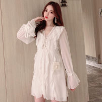 Dress Spring 2021 white Average size Short skirt singleton  Long sleeves Sweet V-neck High waist Solid color other pagoda sleeve Others 18-24 years old Type A Ruffles, stitching Mori