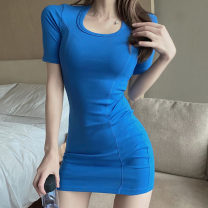 Dress Summer 2021 Blue, black Average size Short skirt singleton  Short sleeve commute Crew neck High waist Solid color Socket One pace skirt routine Others 18-24 years old T-type Korean version backless