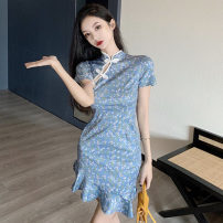 Dress Spring 2021 Decor S,M,L Short skirt singleton  Short sleeve commute stand collar High waist Decor Socket Ruffle Skirt routine Others 18-24 years old T-type Korean version Lotus leaf edge