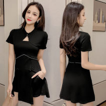 Dress Summer of 2019 black S,M,L,XL Short skirt Two piece set Short sleeve commute Crew neck High waist Solid color other routine Others 18-24 years old Type A Other / other Retro Hollowing out