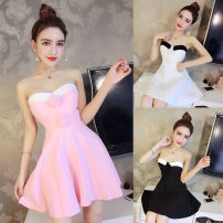Dress Summer 2017 Rose, white, pink, black S,M,L Short skirt singleton  Sleeveless commute One word collar High waist Solid color Socket Princess Dress routine Breast wrapping 25-29 years old Type A Other / other Ol style