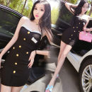 Dress Summer of 2018 black S,M,L Short skirt singleton  commute One word collar Socket One pace skirt Breast wrapping Type H Other / other Korean version