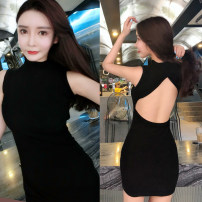 Dress Summer of 2018 black Average size Middle-skirt singleton  Sleeveless commute Crew neck High waist Solid color Socket One pace skirt Others 18-24 years old Type H Other / other lady Hollow out, open back, stitching 51% (inclusive) - 70% (inclusive) other other