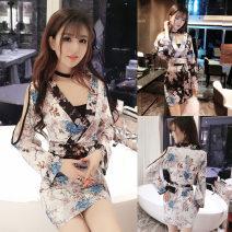 Dress Summer of 2018 White, black S,M,L Short skirt singleton  Long sleeves commute V-neck middle-waisted Decor Socket pagoda sleeve 18-24 years old Other / other Korean version Bandage
