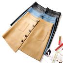 skirt Autumn 2020 Short skirt Versatile High waist Irregular Solid color Type A More than 95% Sheepskin Weiwei Jinzhi Sheepskin Pocket, asymmetric, button 601g / m ^ 2 and above