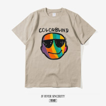 T-shirt Youth fashion Black, white, camel routine S,M,L,XL,XXL,XXXL Others Short sleeve Crew neck easy daily summer youth Off shoulder sleeve Youthful vigor smiling face cotton Creative interest