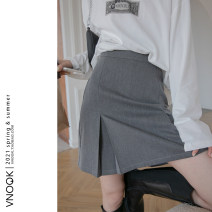 skirt Spring 2021 S,M,L Smoke grey, base black Short skirt commute High waist A-line skirt Solid color Type A More than 95% other vnook other