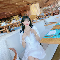 Dress Summer 2020 white XS,S,M,L Middle-skirt singleton  Short sleeve commute V-neck High waist Solid color zipper Princess Dress bishop sleeve Others 25-29 years old Type A Chen Liyu Korean version bow 31% (inclusive) - 50% (inclusive) other polyester fiber