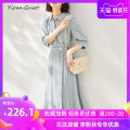 Dress Autumn 2020 Light grey blue (5-sleeve) grapefruit red (long sleeve) S M L XL 2XL 3XL Mid length dress singleton  elbow sleeve commute square neck middle-waisted Solid color Single breasted A-line skirt routine Others 35-39 years old Type X Yi Ran is me Ol style Stitching asymmetric buttons