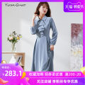 Dress Spring 2021 Fog blue alternative S M L XL 2XL 3XL Mid length dress singleton  Long sleeves commute Doll Collar middle-waisted Solid color Socket Big swing routine Others 35-39 years old Type X Yi Ran is me Ol style Stitched button zipper 81% (inclusive) - 90% (inclusive) other polyester fiber