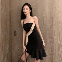 Dress Summer 2021 black S,M,L Short skirt singleton  Sleeveless commute Slant collar middle-waisted zipper Pencil skirt other Others 18-24 years old
