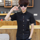 shirt Youth fashion Others S,M,L,XL,2XL Thin money square neck Short sleeve Self cultivation daily summer teenagers Youthful vigor 2018 Solid color washing
