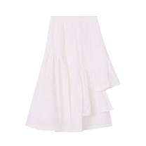 skirt Summer 2021 S,M,L white Mid length dress commute High waist Irregular Solid color Type A 18-24 years old 81% (inclusive) - 90% (inclusive) other other Asymmetry