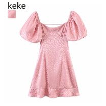 Dress Spring 2021 Pink S,M,L Short skirt singleton  Short sleeve commute square neck High waist Solid color Socket A-line skirt puff sleeve 25-29 years old Type A Retro zipper polyester fiber