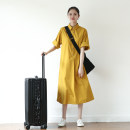 Dress Summer 2020 Autumn fragrant yellow M L Mid length dress singleton  elbow sleeve commute square neck Loose waist Solid color Single breasted A-line skirt other Others 18-24 years old Type A Sun / Su Ying literature Patch fold pocket with lace up buttons v9669 More than 95% cotton Cotton 100%