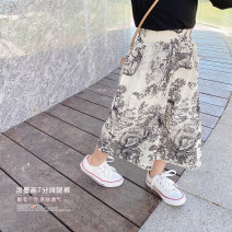 trousers Other / other female 80cm,90cm,100cm,110cm,120cm,130cm spring and autumn Cropped Trousers Korean version There are models in the real shooting Casual pants Leather belt middle-waisted cotton Don't open the crotch Cotton 95% other 5% Class B Wide leg pants Chinese Mainland Zhejiang Province