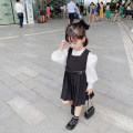 Dress Black, white with shirt female Other / other 80cm,90cm,100cm,110cm,120cm,130cm Other 100% spring and autumn Britain Skirt / vest Solid color blending Pleats Class B 12 months, 18 months, 2 years old, 3 years old, 4 years old, 5 years old, 6 years old, 7 years old Chinese Mainland