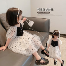 Dress Wave point female Other / other 90cm,100cm,110cm,120cm,130cm Cotton 100% summer lady Short sleeve Solid color blending Splicing style Class B 18 months, 2 years old, 3 years old, 4 years old, 5 years old, 6 years old Chinese Mainland Zhejiang Province Huzhou City