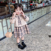 suit Other / other Khaki 80cm,90cm,100cm,110cm,120cm,130cm female spring and autumn Korean version Long sleeve + skirt 2 pieces routine There are models in the real shooting Socket nothing lattice cotton children Expression of love Class B Cotton 90% other 10% Chinese Mainland Zhejiang Province