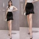 skirt Autumn of 2018 S,M,L,XL,2XL Apricot, red, black Short skirt commute High waist Irregular Solid color Type X 25-29 years old brocade Ruffles, asymmetric Korean version