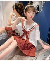 suit Other / other Blue, red 110cm,120cm,130cm,140cm,150cm,160cm female summer college Short sleeve + skirt 2 pieces Thin money There are models in the real shooting Socket nothing Solid color cotton children Learning reward Class B Other 100% Chinese Mainland Zhejiang Province Huzhou City