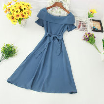 Dress Summer of 2019 Blue, green, orange, Navy, yellow, rose, black, pink, khaki Average size Mid length dress singleton  Short sleeve commute One word collar middle-waisted Solid color zipper Big swing routine Others Type A Korean version Bow, ruffle, lace, stitching other
