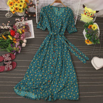 Dress Autumn 2020 Black, dark blue, light blue, apricot, violet, red, dark green, pink Average size longuette singleton  Short sleeve commute V-neck High waist Decor Socket A-line skirt routine 25-29 years old Type A Lace up, stitching, buttons, print 81% (inclusive) - 90% (inclusive) other