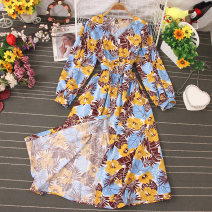 Dress Autumn 2020 Decor 1, decor 2, decor 3, decor 4, decor 5, decor 6, decor 7, decor 8, decor 9, decor 10 Average size Mid length dress singleton  Long sleeves commute V-neck High waist Decor Socket A-line skirt routine Type A Stitching, buttons, print 81% (inclusive) - 90% (inclusive) other
