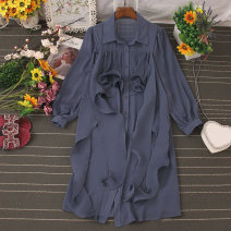 Dress Autumn 2020 Black, blue, yellow, khaki, white Average size Mid length dress singleton  Long sleeves commute Polo collar High waist Solid color Single breasted A-line skirt routine 25-29 years old Type A Ruffles, lace up, stitching, buttons 81% (inclusive) - 90% (inclusive) Chiffon