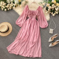 Dress Autumn 2020 Watermelon red, yellow, green, black, khaki, jujube, pink Average size Mid length dress singleton  three quarter sleeve commute square neck High waist Solid color Big swing puff sleeve Others 18-24 years old Type A Korean version 51% (inclusive) - 70% (inclusive) other other