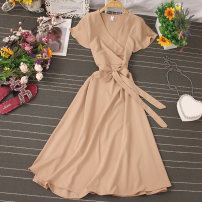 Dress Autumn 2020 Pink, black, dark blue, dark green, khaki, yellow, lake blue, orange, jujube Average size Mid length dress singleton  Short sleeve commute V-neck High waist Solid color Socket A-line skirt routine 25-29 years old Type A Lace up, stitching 81% (inclusive) - 90% (inclusive) other