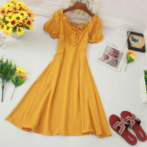 Dress Summer of 2019 Average size Mid length dress singleton  Short sleeve commute One word collar High waist other Lantern skirt puff sleeve Others Type A Korean version 81% (inclusive) - 90% (inclusive) other