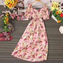 Dress Autumn 2020 Decor 1, decor 2, decor 3, decor 4, decor 5, decor 6, decor 7, decor 8, decor 9 Average size Mid length dress singleton  Short sleeve Sweet One word collar High waist Broken flowers Socket Big swing puff sleeve Type A Stitching, printing 81% (inclusive) - 90% (inclusive) other