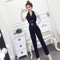 Dress Spring 2021 black S,M,L longuette Two piece set Short sleeve commute V-neck High waist Solid color Socket Princess Dress other Others 18-24 years old Type A Other / other Korean version