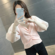 Wool knitwear Summer 2021 S M L XL Pink apricot black white Short sleeve singleton  Socket other More than 95% Regular routine commute Self cultivation V-neck routine Solid color Socket Korean version VE14135HT1800975776 vee fly Pleated stitching Other 100% Pure e-commerce (online only)