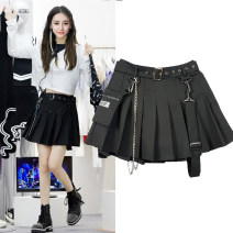 skirt Spring 2021 XS,S,M,L,XL Black with inner lining, check with inner lining, black autumn and winter Short skirt Versatile High waist Pleated skirt Solid color Type A 18-24 years old 91% (inclusive) - 95% (inclusive) other nylon Chain, fold, pocket, tridimensional decoration
