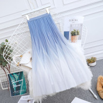skirt Summer 2021 One size fits all (elastic waist 85-125kg) Green, light blue, dark blue Mid length dress commute High waist A-line skirt Solid color Type A Other / other Gauze Korean version