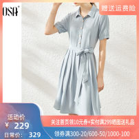 Dress Summer 2020 Gray blue S M L XL Mid length dress singleton  Short sleeve commute Crew neck High waist Solid color zipper Irregular skirt other Others 25-29 years old Type A OSA Simplicity More than 95% polyester fiber Polyester 100%