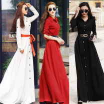 Dress Spring 2021 S,M,L,XL,2XL,3XL longuette singleton  Long sleeves street Polo collar High waist Solid color Single breasted Big swing shirt sleeve 25-29 years old Lace up, button More than 95% nylon Europe and America