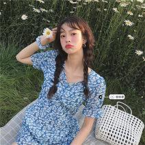 Dress Summer 2021 The blue skirt S, M Middle-skirt singleton  Short sleeve commute V-neck High waist Decor Socket A-line skirt routine Others Under 17 Type A Korean version 31% (inclusive) - 50% (inclusive)