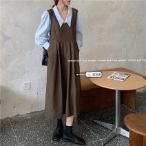Dress Spring 2021 Blue shirt 3497, white shirt 3497, black vest skirt 3495, dark brown vest skirt 3495# Average size Mid length dress singleton  Sleeveless commute Loose waist Solid color Socket Big swing routine straps 18-24 years old Type A Korean version Bandage 31% (inclusive) - 50% (inclusive)
