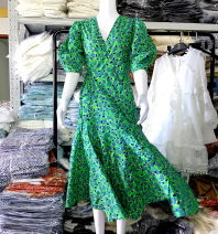 Dress Summer 2020 Vine of Monet Garden XS,S,M,L longuette singleton  Short sleeve Sweet V-neck High waist Decor other Big swing puff sleeve Others Type A Lace up, resin fixation, 3D, printing 31% (inclusive) - 50% (inclusive) other other Bohemia