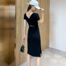 Dress Summer 2020 S,M,L,XL Mid length dress singleton  Long sleeves commute Crew neck High waist Solid color Socket One pace skirt routine Others 25-29 years old Type X Other / other Retro More than 95% knitting cotton