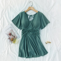 one piece  other S [recommended 80-90 kg], m [recommended 90-100 kg], l [recommended 100-110 kg], XL [recommended 110-120 kg] Green 8086, black 8086, yellow 8086 Skirt one piece With chest pad without steel support Polyester, others female Short sleeve Casual swimsuit Solid color
