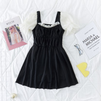 one piece  Independent brand S [recommended 80-90 kg], m [recommended 90-100 kg], l [recommended 100-110 kg], XL [recommended 110-120 kg] Black 2111na Skirt one piece With chest pad without steel support Polyester, others female Short sleeve Casual swimsuit Other, solid