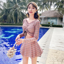Split swimsuit Independent brand Blue 8809, brown 8809, light green 8809 S [recommended 80-90 kg], m [recommended 90-100 kg], l [recommended 100-110 kg], XL [recommended 110-120 kg] Skirt split swimsuit With chest pad without steel support Polyester, others female V-neck