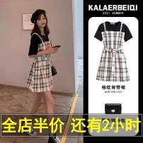 Dress Summer 2021 Fake two pieces S,M,L,XL Short skirt Fake two pieces Short sleeve Sweet Crew neck Loose waist lattice Single breasted other routine Others T-type Splicing 71% (inclusive) - 80% (inclusive) other solar system