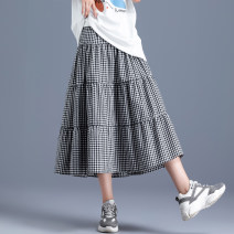 skirt Autumn 2020 XS S M L XL 2XL Black white black Mid length dress commute High waist Umbrella skirt lattice Type A 18-24 years old NNWK_ RJQ21327 51% (inclusive) - 70% (inclusive) other You're my pants polyester fiber Fold wave splicing Retro Polyester 55% cotton 42% flax 3%