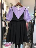 Dress Summer 2020 White 8802, light purple 8802, lattice 8802 M, L Middle-skirt Fake two pieces Short sleeve Crew neck High waist puff sleeve